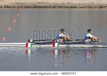MONTEMOR-O-VELHO, PORTUGAL 11/09/2010. Italian team, TRIVELLA Eleonora BELLO Erika, competing in the Lightweight Women's Double Sculls at the 2010 European Rowing Championships