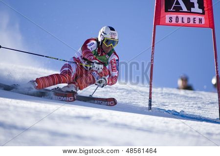 SOELDEN AUSTRIA OCT 26, Marcus Sandell FIN  competing in the mens giant slalom race at the Rettenbach Glacier Soelden Austria, the opening race of the 2008/09 Audi FIS Alpine Ski World Cup