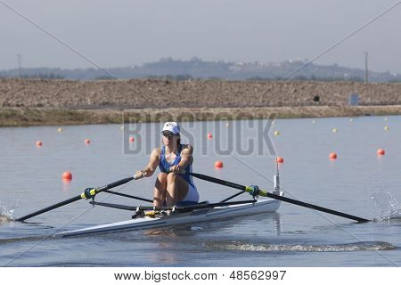 MONTEMOR-O-VELHO, PORTUGAL 10/09/2010. VARVIO Ulla (FIN) competing in the Women's Single Sculls at the 2010 European Rowing Championships held at the aquatic centre, Montemor-o-Velho, Portugal.