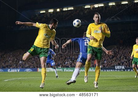 LONDON ENGLAND 23-11-2010. MSK Zilina's forward Tom���¡���¡ Oravec attempts to score with a header during the UEFA Champions League group stage match between Chelsea FC and MSK Zilina