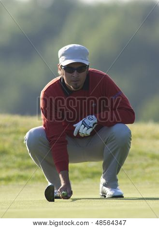 SAINT-OMER, FRANCE. 17-06-2010, Mikko Korhonen (FIN) on the first day of the European Tour, 14th Open de Saint-Omer, part of the Race to Dubai tournament and played at the AA Saint-Omer Golf Club .