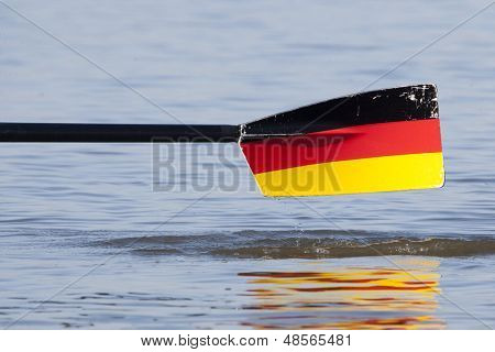MONTEMOR-O-VELHO, PORTUGAL 10/09/2010. A German oar blade at the 2010 European Rowing Championships held at the aquatic centre, Montemor-o-Velho, Portugal.