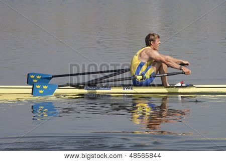 MONTEMOR-O-VELHO, PORTUGAL 11/09/2010. KARONEN Lassi (SWE), competing in the Men's Single Sculls at the 2010 European Rowing Championships held at the Aquatic Centre, Montemor-o-Velho, Portugal.