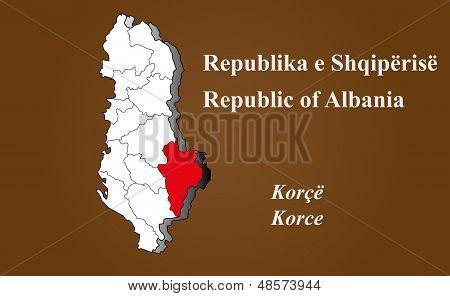 Albania - Korce Highlighted