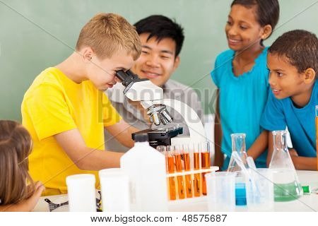 group of students in elementary science class with teacher