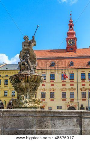 Jihlava (iglau) Main (masaryk) Square With Town Hall, Moravia, Czech Republic