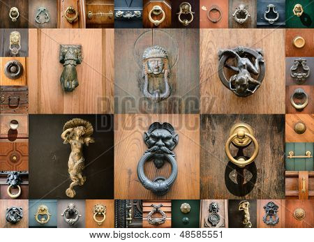 doorknobs of ancient doors in Rome, collection of beautiful vintage architectural details
