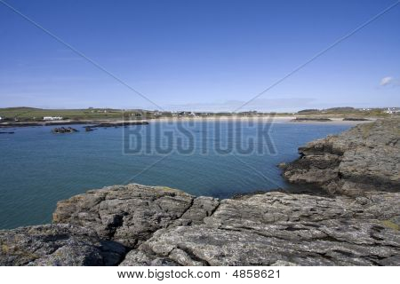 Rhoscolyn coastal village and beach on the Isle of Anglesey North Wales poster