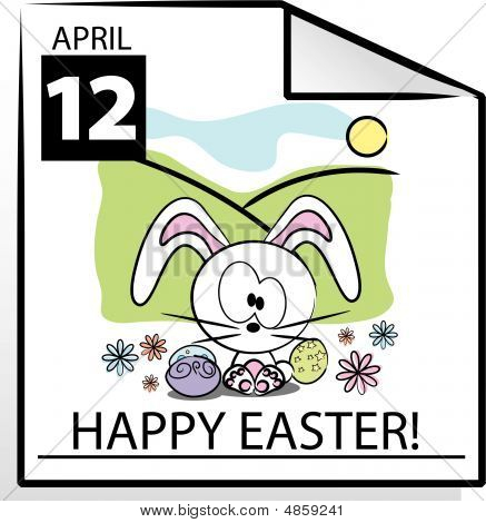 Vector Easter Calendar Page