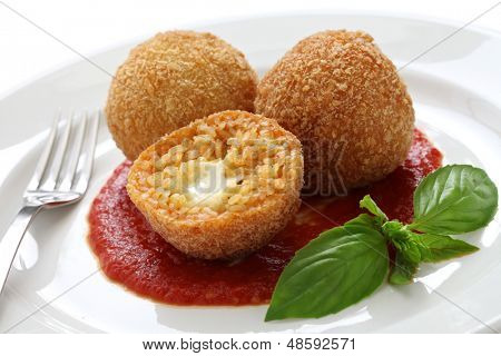 arancini, fried rice balls, italian cuisine poster
