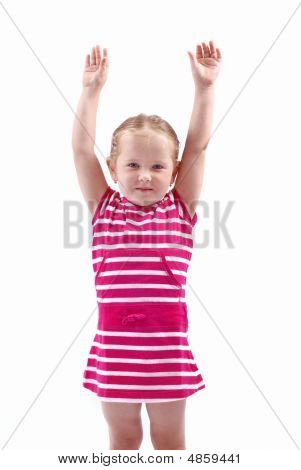 Cute Child With Hands Up On White