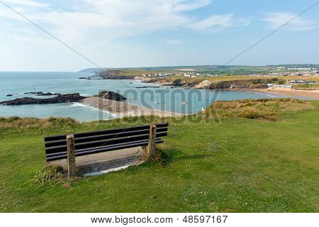 View of Bude coast North Cornwall between Tintagel and Clovelly England UK