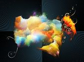 Abstract design made of color elements and fractal burst on the subject of design creativity and imagination poster