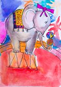 Children's drawing watercolor beautiful elephant acts in circus poster
