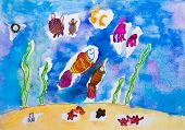 Children's drawing watercolor beautiful fish on the seabed poster
