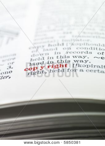 The word copyright highlighted in a dictionary