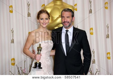 Jennifer Lawrence and Jean Dujardin at the 85th Annual Academy Awards Press Room, Dolby Theater, Hollywood, CA 02-24-13