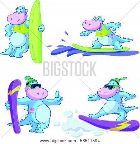 cute blue dino watersport set