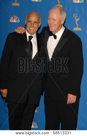 LOS ANGELES - AUGUST 27: Jeffrey Tambor and John Lithgow in the Press Room at the 58th Annual Primetime Emmy Awards in The Shrine Auditorium August 27, 2006 in Los Angeles, CA.