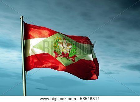 Santa Catarina (Brazil) flag waving in the evening