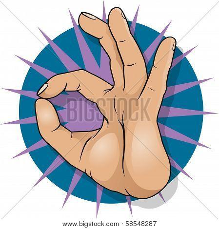 Vintage Pop Art Ok Hand Sign.