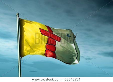 Nunavut (Canada) flag waving on the wind