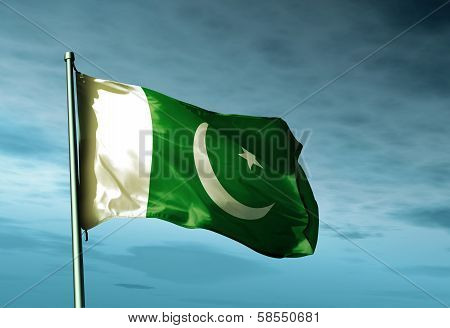 Pakistan flag waving on the wind