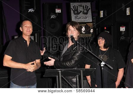 Mike Malinin, John Rzeznik, Robby Takac at the Goo Goo Dolls RockWalk Induction, Guitar Center, Hollywood, CA 05-07-13