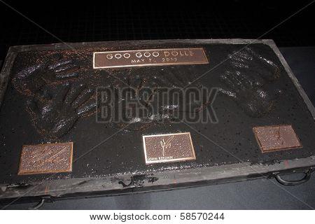 Robby Takac, John Rzeznik, Mike Malinin at the Goo Goo Dolls RockWalk Induction, Guitar Center, Hollywood, CA 05-07-13