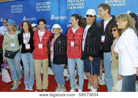 Nancy Allen, Lilly Tartikoff, Karen Duffy, Wendie Jo Sperber, Stephanie Peponis, Jim Belushi, Jack Stahl, Rhea Perlman, Lisa Paulsen at the 11th Revlon Run/Walk For Women in Los Angeles 05-08-04