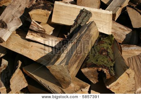Fire wood, typical for Bavaria in Germany poster