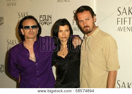 Bono, wife Ali Hewson and designer Rogan Gregory at the launch of