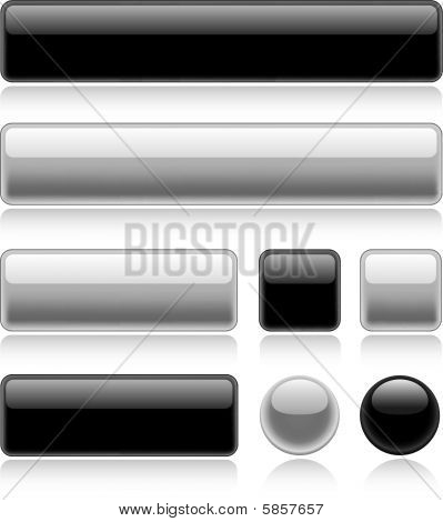 Set of various glossy web buttons in black and white poster
