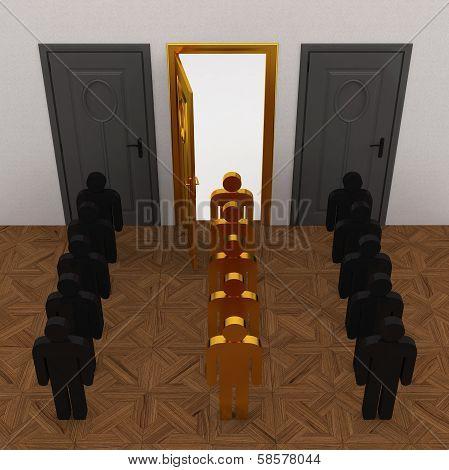 Gold People select door