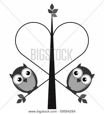 Owl valentine lovers on a heart tree isolated on white background poster