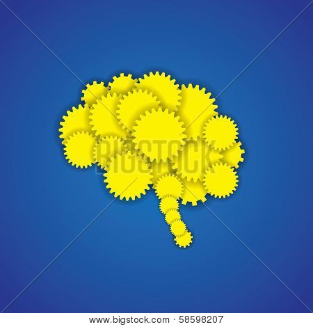 Concept Vector Icon Of Creative Brain Or Mind With Gears