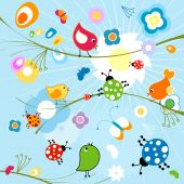 funny background, cute birds and insects, colorful  nature design poster