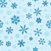 Seamless Pattern With Different Snowflakes For Christmas (Light Blue) poster