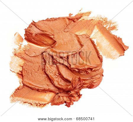 Smudged brown lipstick isolated on white background poster