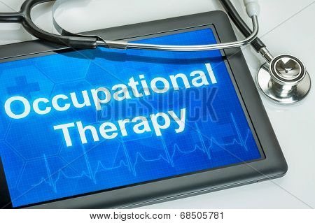 Tablet with the text Occupational Therapy on the display