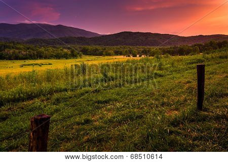 Sunset At Cade's Cove, Great Smoky Mountains National Park, Tennessee.