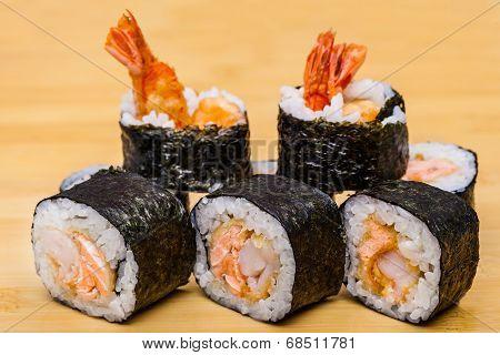 Fresh Sushi With Ebi Tempura Shrimps On Wooden Background