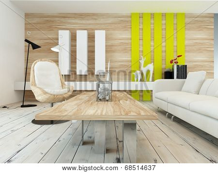 Rustic decor in a modern living room with a wood wall with yellow accents, contemporary wooden coffee table, white painted floorboards and a comfortable white sofa