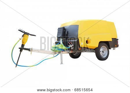 The image of a movable compressor  with a jackhammer  under the white background