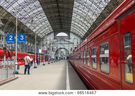 Moscow, Russia, on July 5, 2014. The aeroexpress train expects departure in the Vnukovo airport at t
