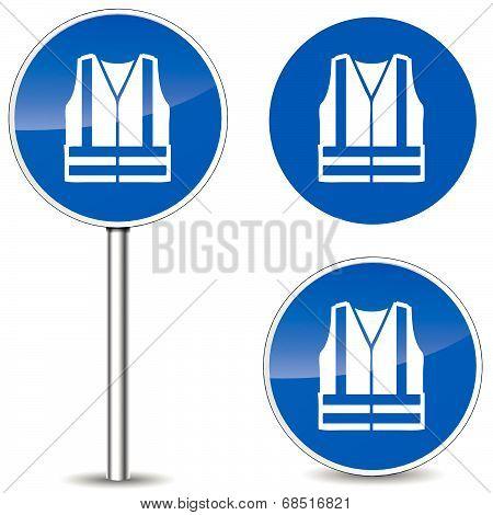 Vector Safety Vest Sign
