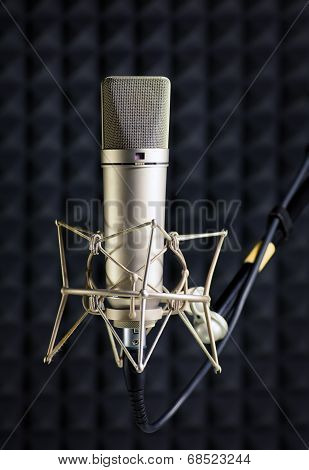 Condenser Microphone In Recording Studio