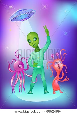 Vector Illustration Alien And Ufo