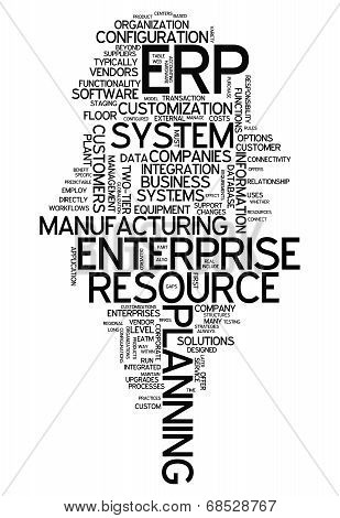 Word Cloud with Enterprise Resource Planning related tags poster