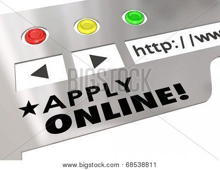 Apply Online words on a website or internet browser window application form